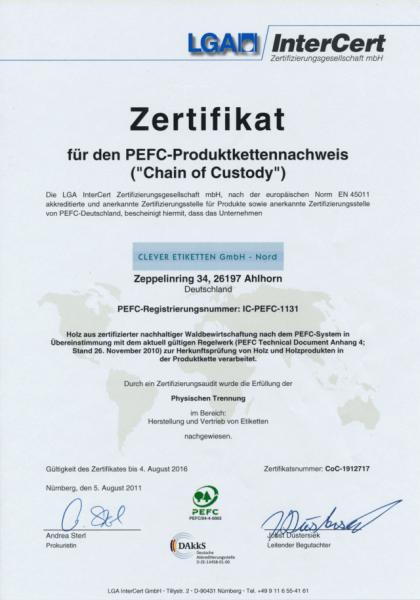 PEFC Zertifikat Clever Etiketten klein