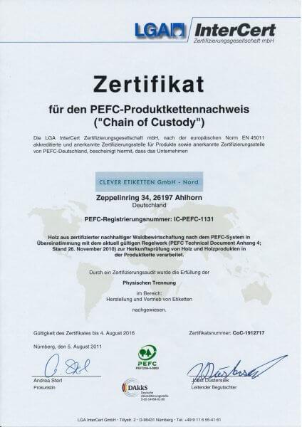 PEFC Zertifikat Clever Etiketten groß